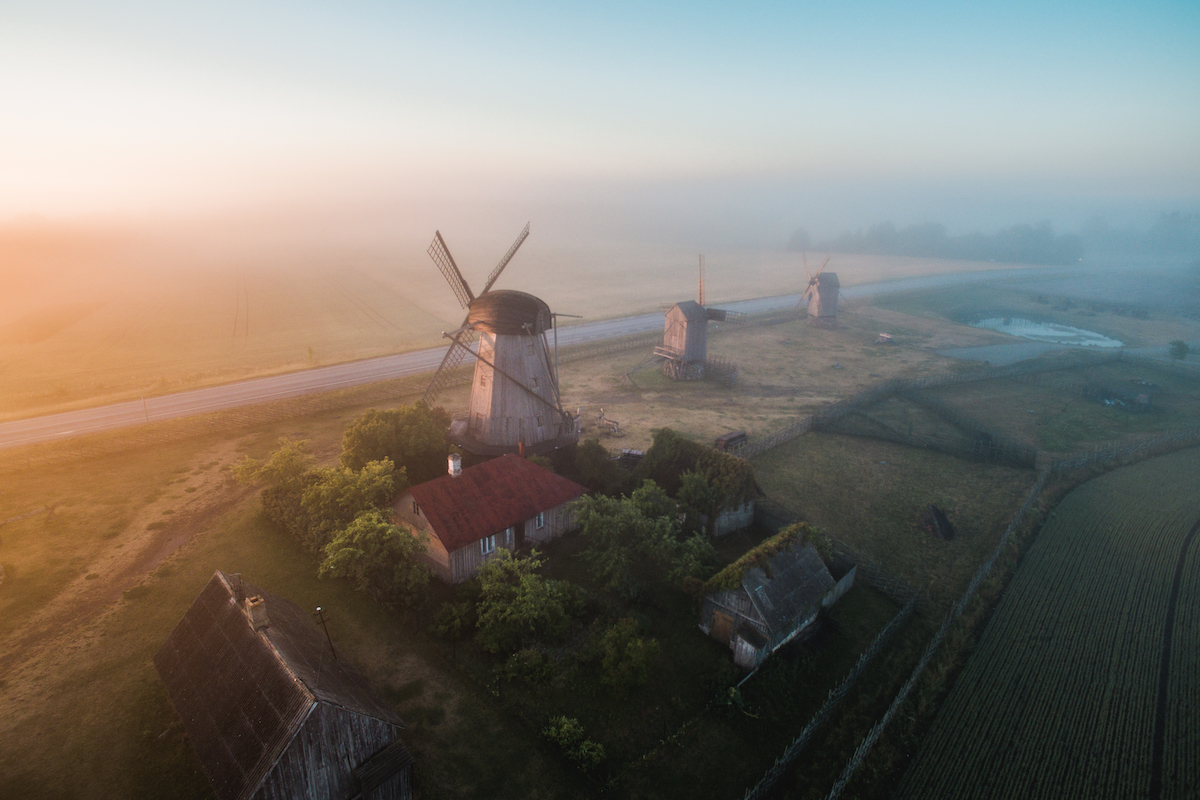 Saaremaa has several spots with such iconic views as the Angla Windmill Mount. It is exciting to go discovering such places at an unconventional time, such as at sun- rise in summer. The probability is high that you will get the chance to experience the magical view in pure solitude. Photo: Priidu Saart