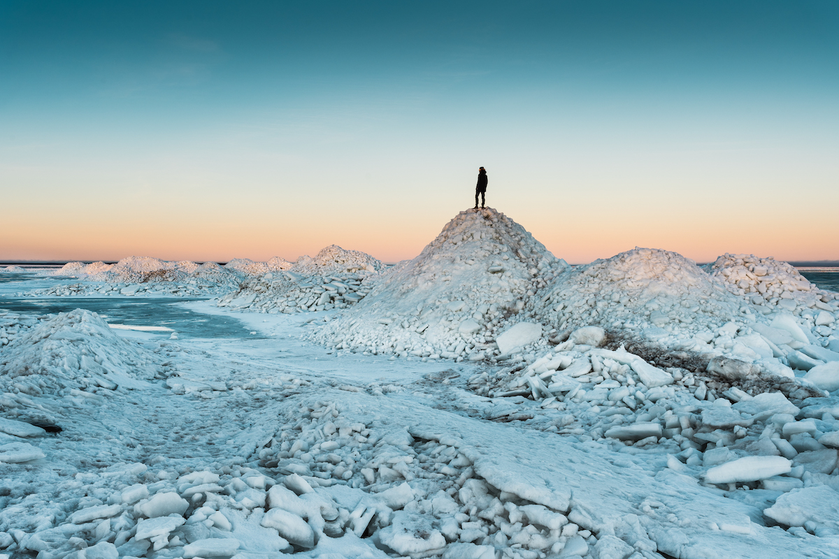 There are many exciting things to discover in our natural environment, even in winter. Pressure ice piled up by winds on the coast of Muhu Island. Photo: Priidu Saart