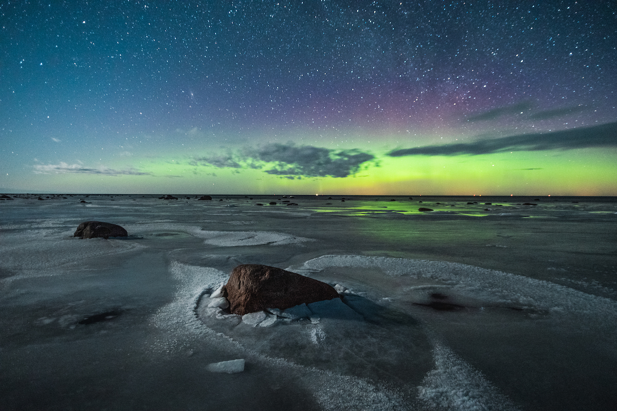 Saaremaa is an ideal place to watch the night sky and the stars, as there is very little light pollution thanks to the sparse human settlement. Even aurora borealis can sometimes be seen. Aurora borealis in a starry sky on a moonlit March night. Photo: Priidu Saart