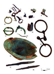 Was the sacrifi ce to remember a dear one who had perished far away? Saare- maa artefacts found inside a shield boss at a Lööne stone grave. Photo: Marika Mägi
