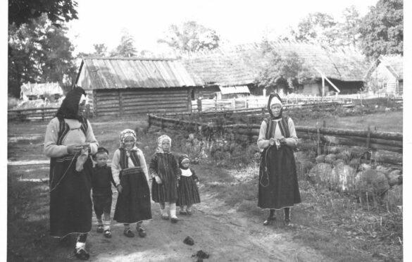 Vardad ei ole peos piltmaakrile poseerimiseks. Ruhnus pidi naine tööd tegema kogu aeg – kui karjateel jalg astus, siis käed olid tal ometi näputööks vabad.  Foto: Rahvusarhiiv
