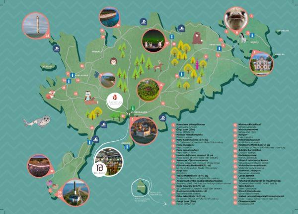 Saaremaa kaart koos vaatamisväärsustega