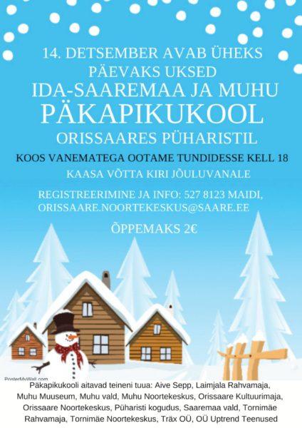 Päkapikukool Orissaares Püharistil Saaremaal