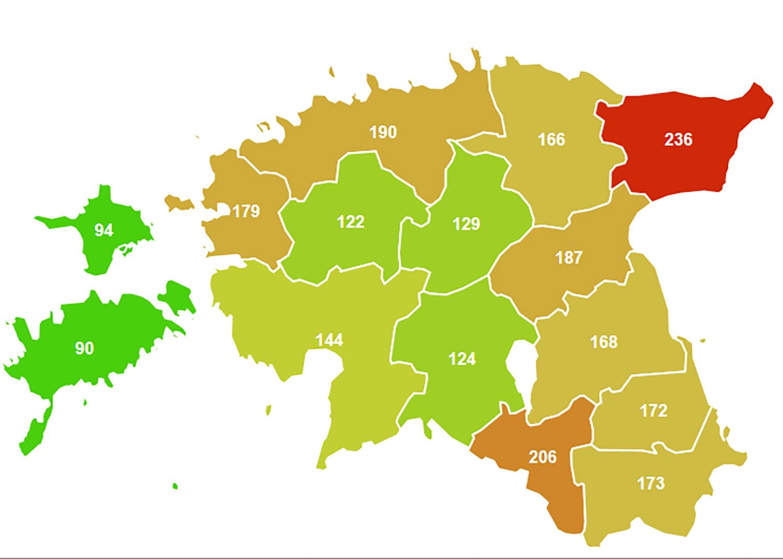 Eestis 2019 aastal registreeritud kuriteod 10 000 elaniku kohta