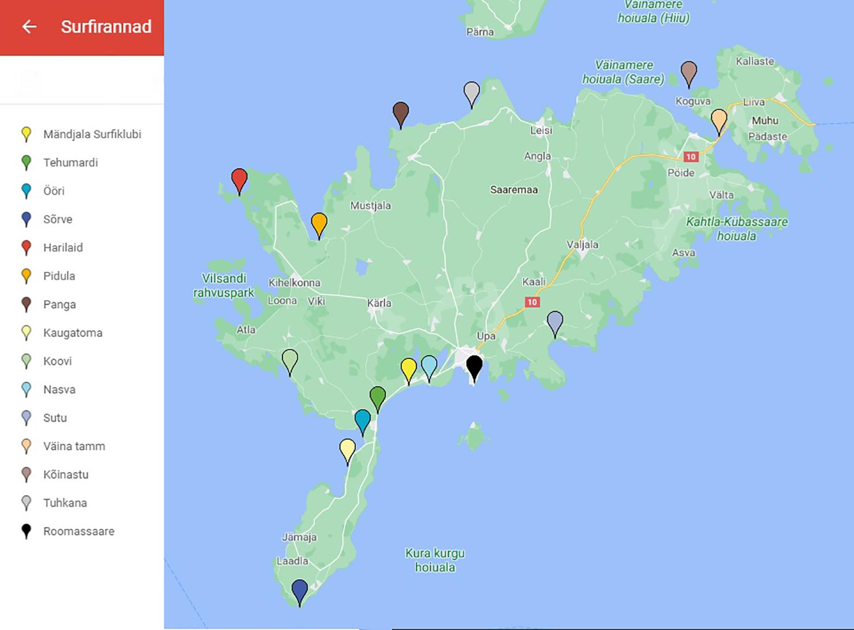 Saaremaal on palju erinevaid surfirandasid