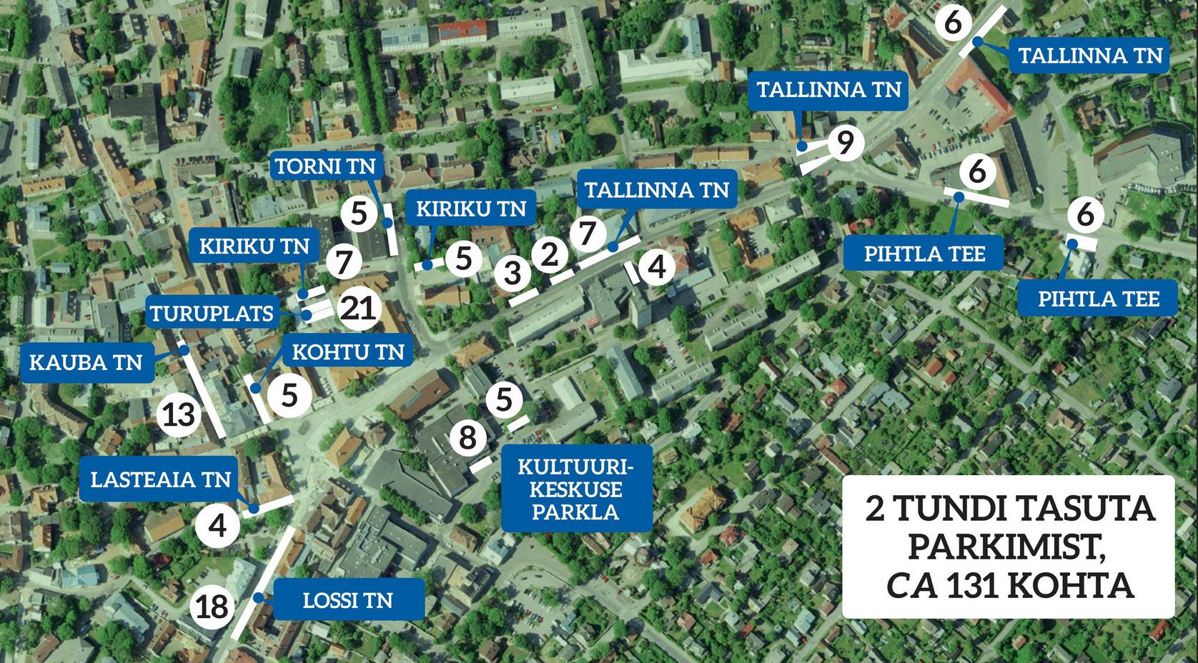 130 parkimiskohta Kuressaare kesklinnas on ajalise piiranguga